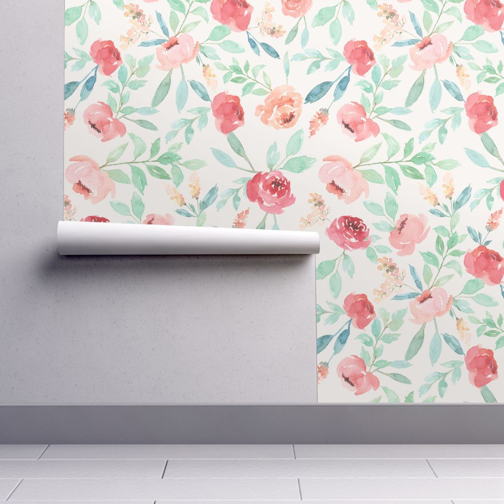 Wallpaper Large Watercolor Floral On Pink Watercolor Wallpaper