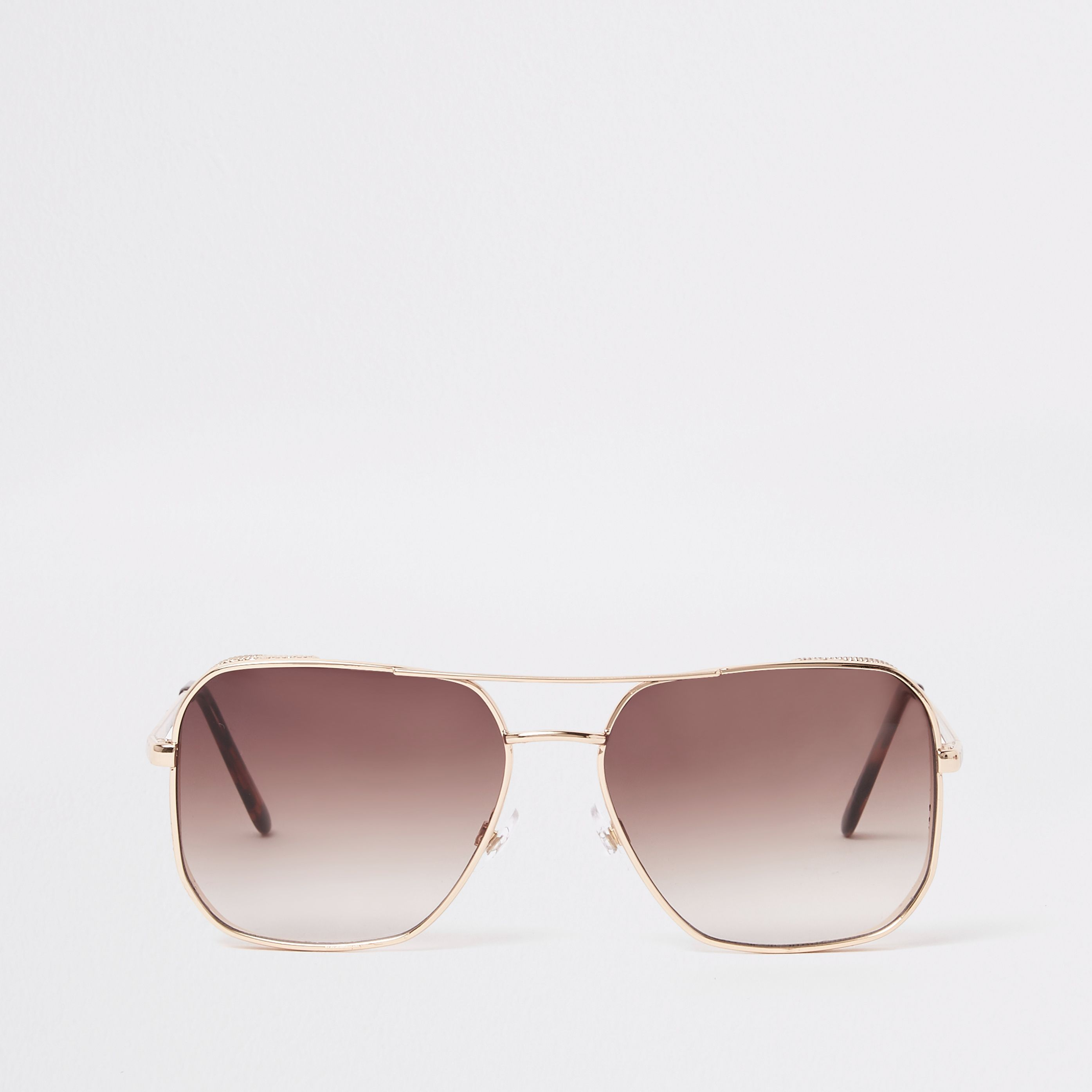 b41a13654f5 Mens Brown gold tone retro aviator sunglasses in 2019