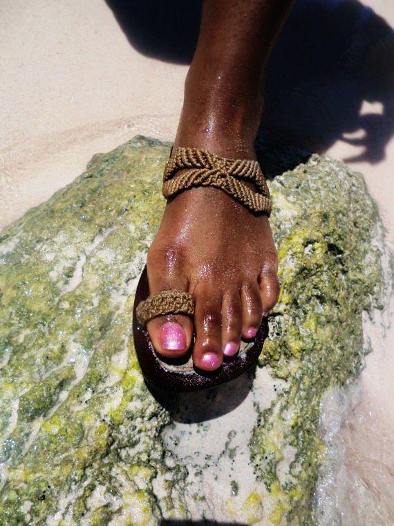 "Handmade ""foot candy"" macrame sandal"