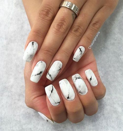 White Marble Nails Art   White Marble Nails Art   Pinterest   Marble ...