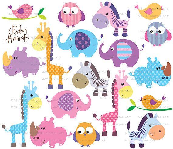 Safari Jungle Animals Clipart Cute Baby Zoo Animals Includes Giraffe Elephant Owl Zebra Rhino Free Commercial Use 10422 Free Clip Art Baby Zoo Animals Animal Clipart