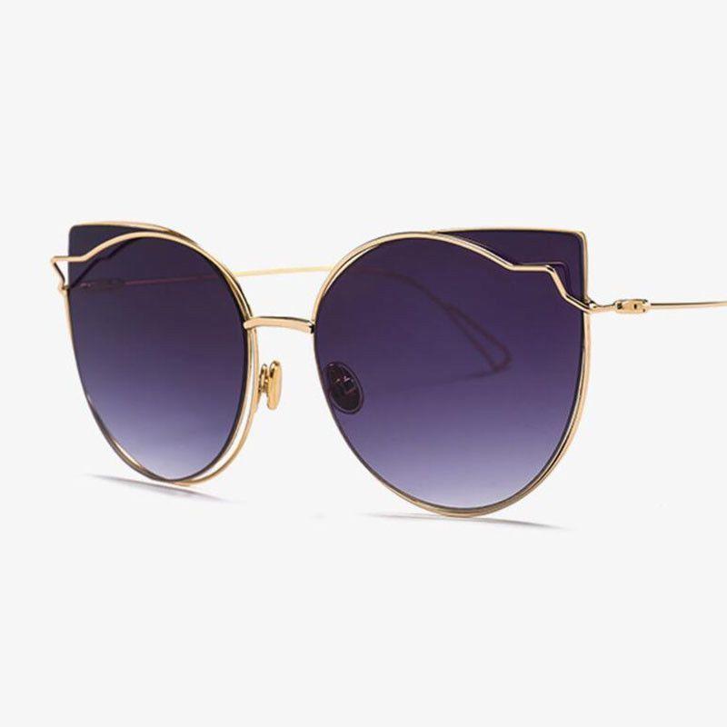 0419641d425 2018 large Cat Eye vintage Brand designer rose gold mirror Sunglasses For  Women  PINK  CatEye