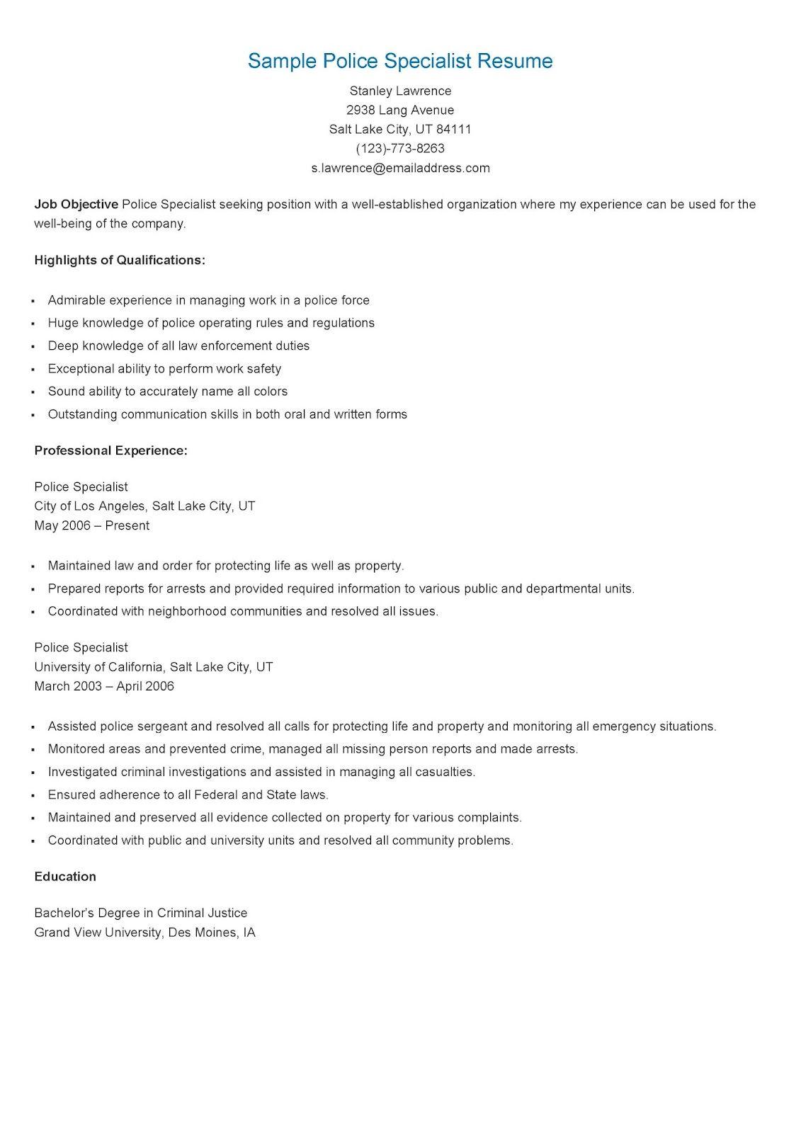 Sample Police Specialist Resume Resume, Sample resume