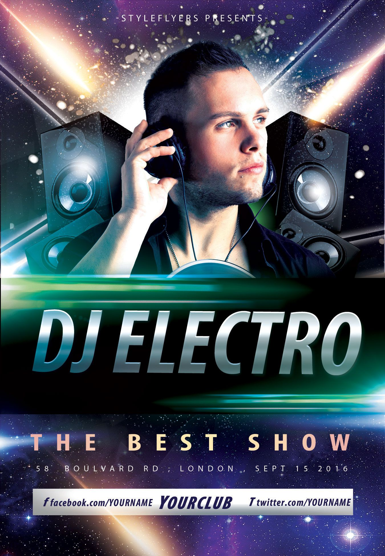 Free DJ Electro Party Flyer PSD Template by