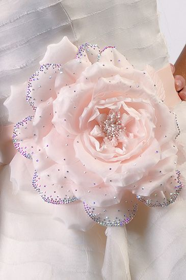 Anabella  Whimsical large silk flower sash adorned with ombre Swarovski crystal petals.