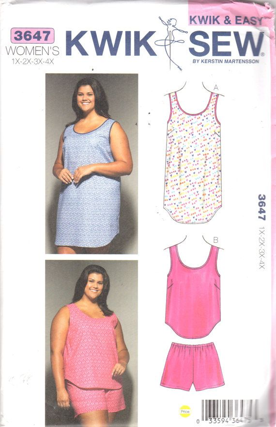 Kwik Sew 3647 Womens Easy Pullover Scoop Neck NIGHTGOWN and Top Pull ...