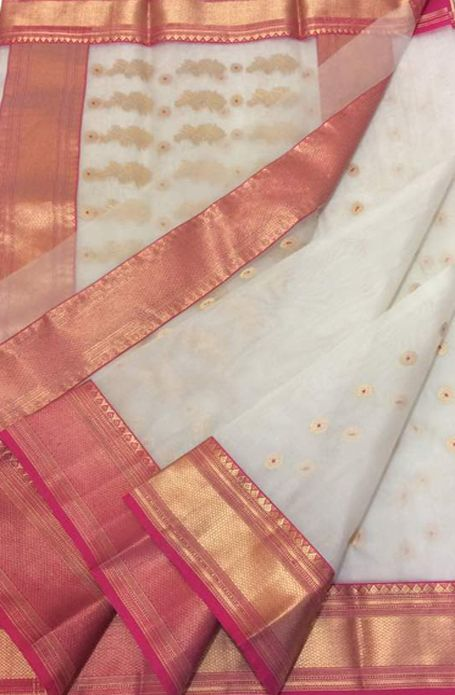 d3dbdb77b89f06 Off White Handloom Chanderi Katan Silk Saree | chanderi sarees in ...