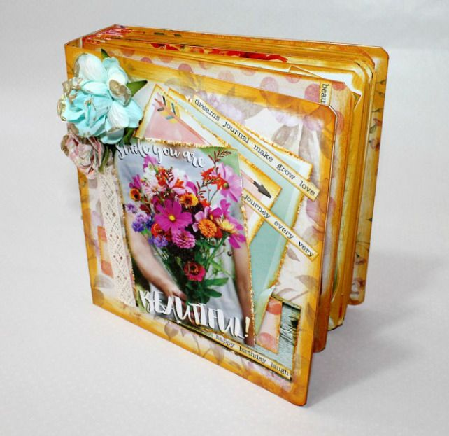 Tutorial mini lbum de fotos salido de una caja crea un precioso lbum scrapbooking a partir de - Decoracion de album de fotos ...