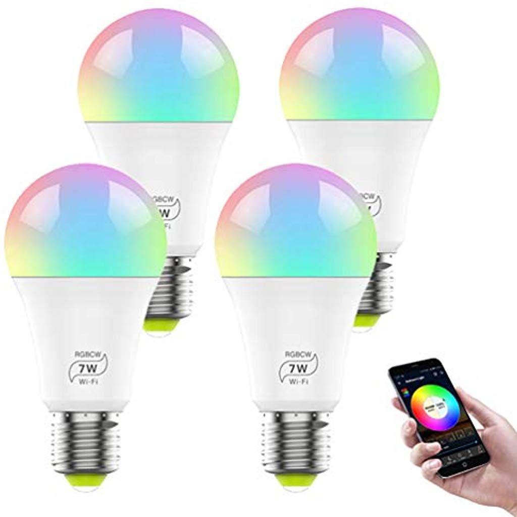 Lvyimao Intelligente Led Gluhbirne E27 Wifi Gluhbirnen App Gesteuert Dimmbar Warmweiss Und Rgb Farben Funktionier Led Gluhbirnen Gluhbirne E27 Deckenbeleuchtung