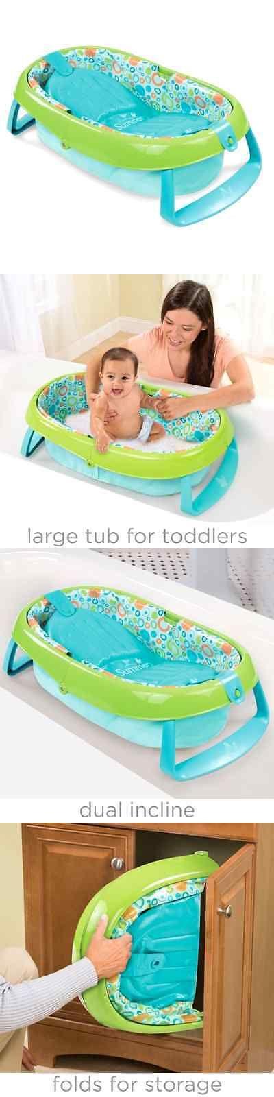 Baby Bath Tub Summer Infant Toddler Compactly folds Bathroom Storage ...