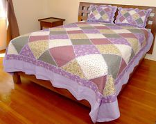 Squish Ruffle Seam Quilt Set with Two Pillow Shams - Purple Theme