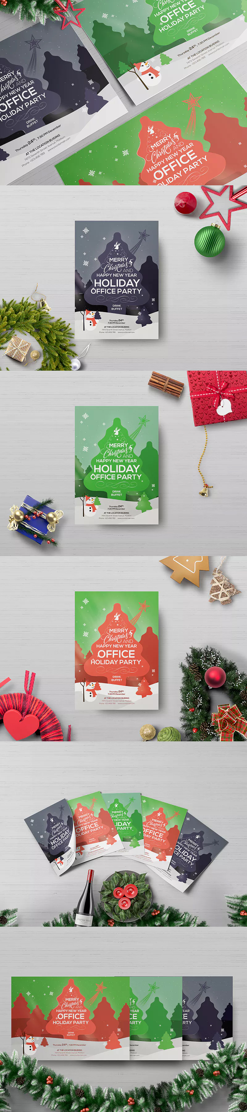 Office Holiday Party  Flyer Template Psd A  Flyer Design