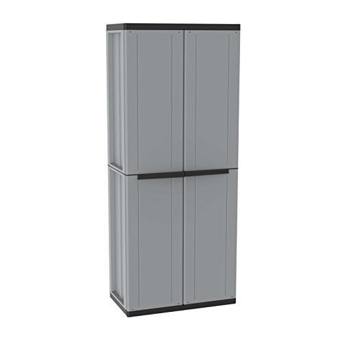 Tall Outdoor Plastic Storage Utility Cabinet Shed Upright Tool Black Cupboard