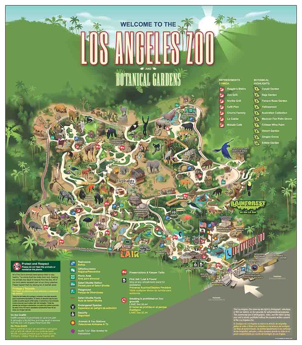LA ZooBotanical Gardens Map Cali Pinterest Zoos And Los Angeles - Los angeles map sightseeing