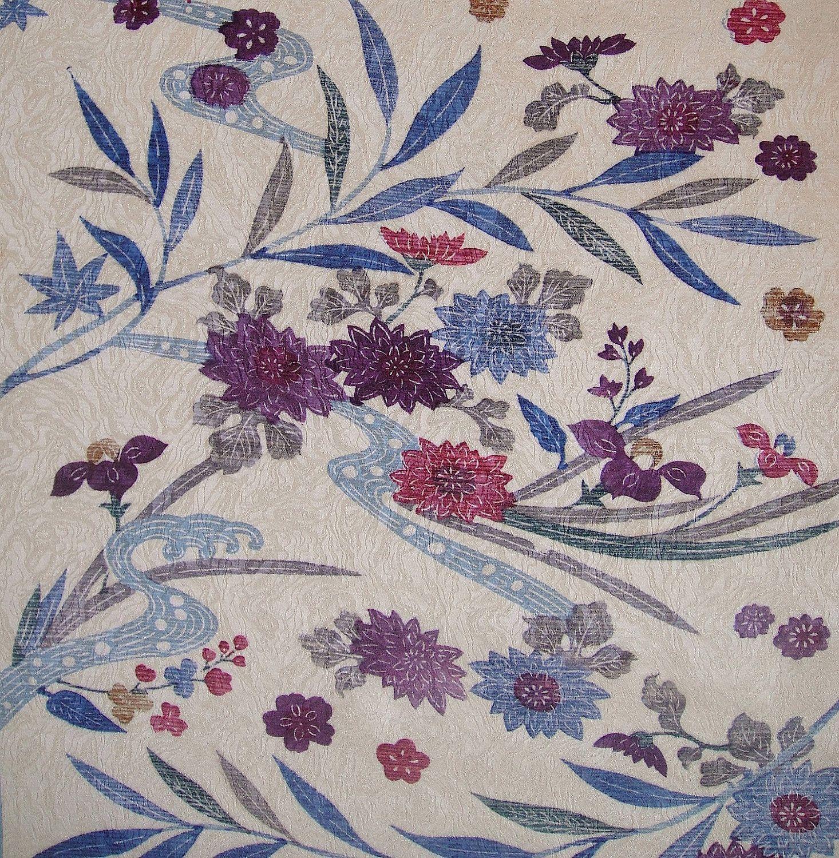 VintageJapanese Kimono FabricPurple Glass