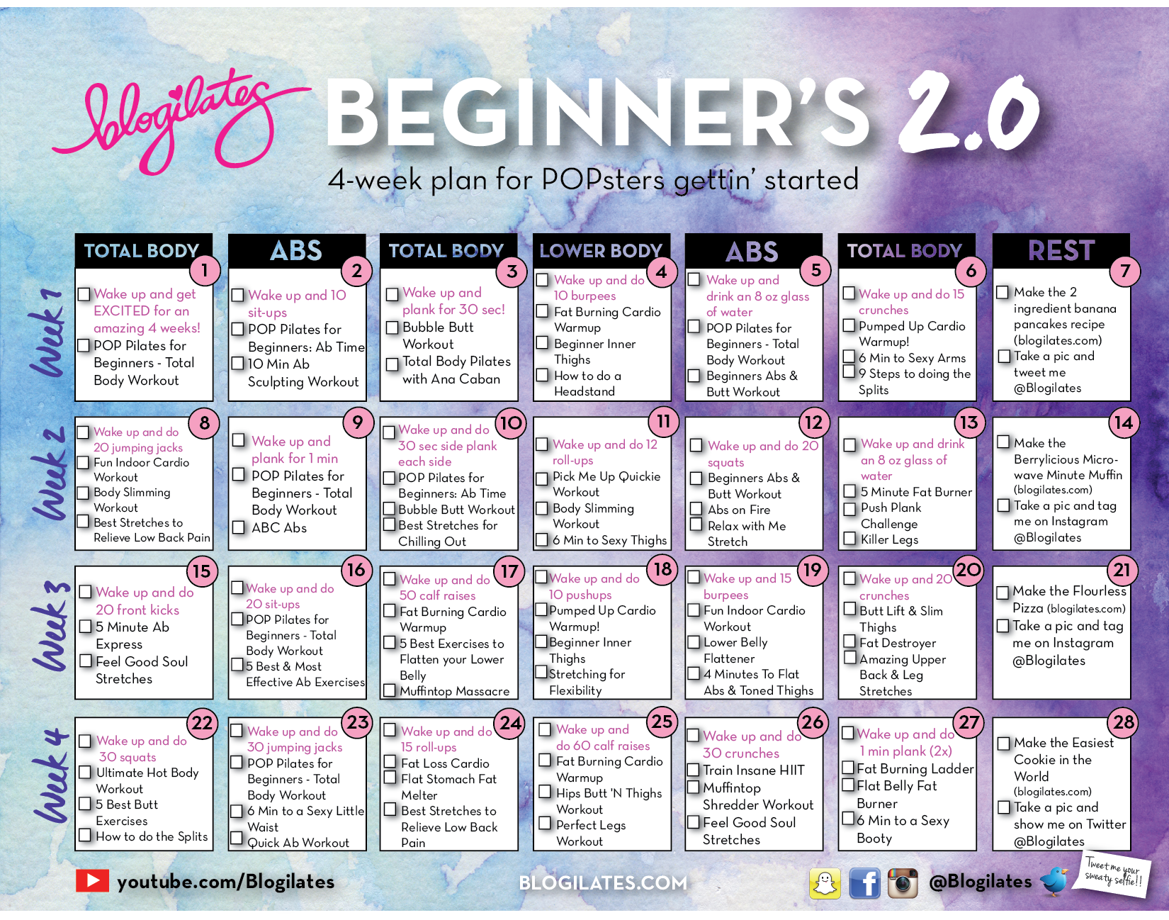New beginners calendar 20 for 2015 blogilates fitness food click to enlarge and printclick on the corresponding days for a full playlist of the workout nvjuhfo Image collections