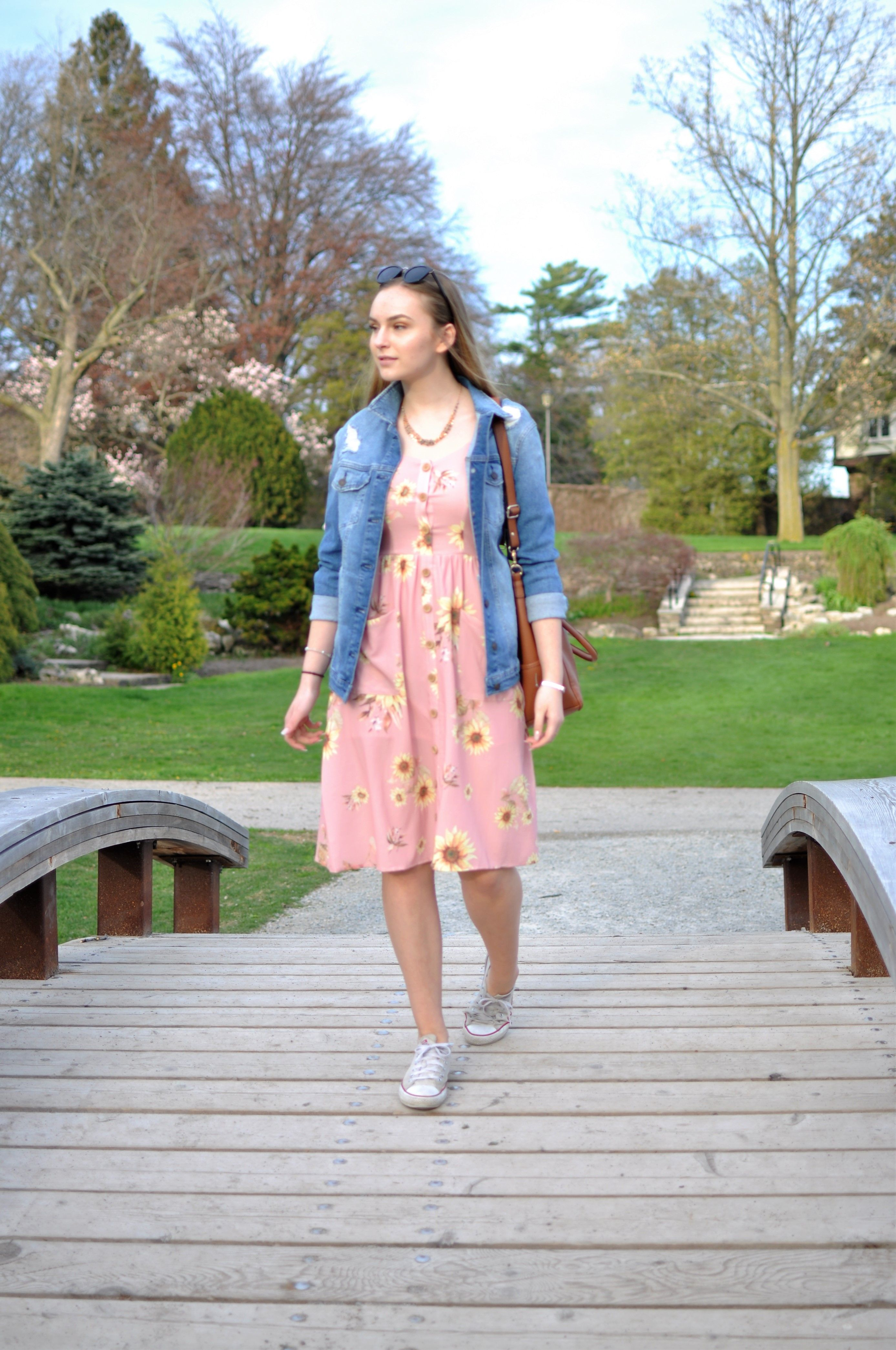 1e5db862803 Denim jackets. Floral dresses. Converse. How to wear a floral dress with  sneakers.