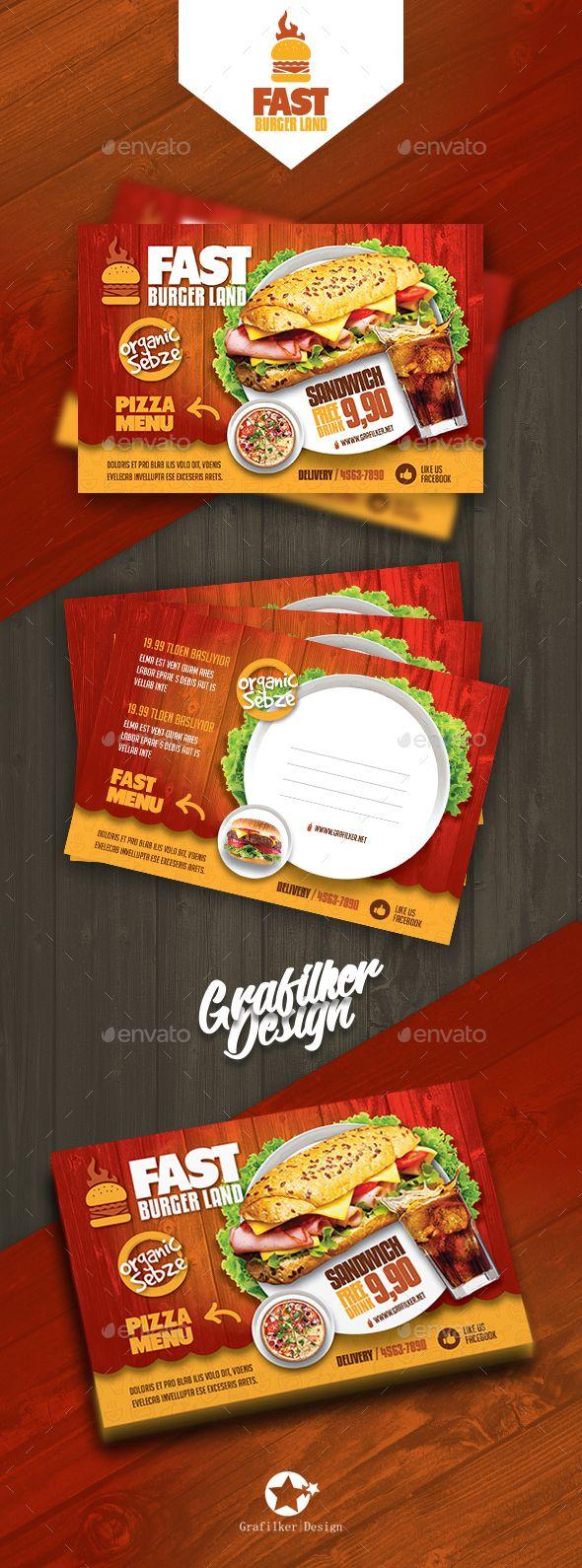 Restaurant Postcard Templates Cards Invites Print Templates Postcard Template Food Poster Design Mailer Design