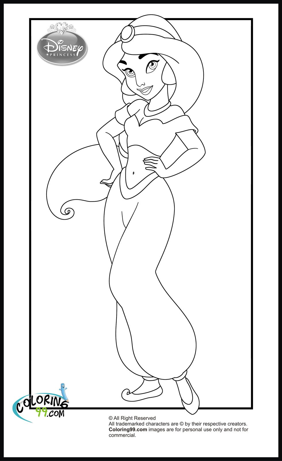 Disney coloring pages princess jasmine - Princess Mirror Coloring Pages Free Image
