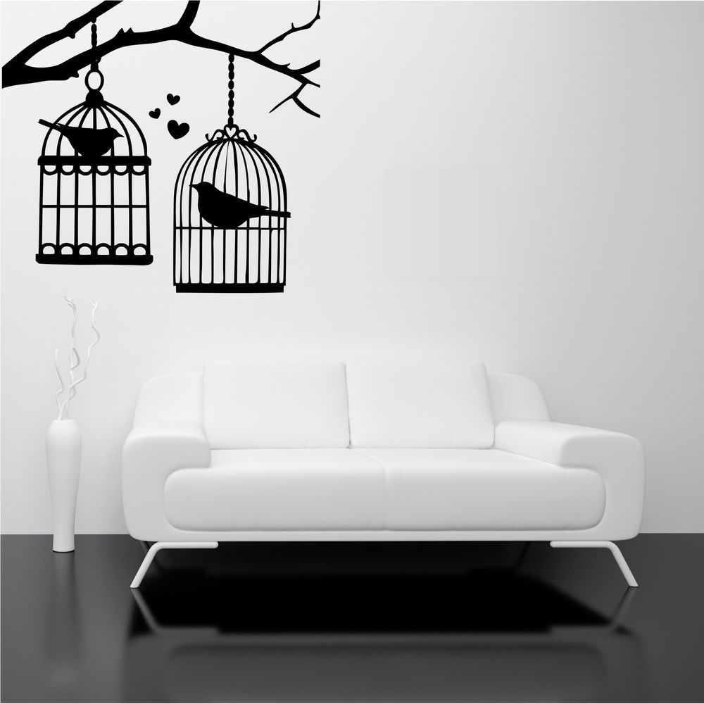 Bird cage branch tree birds love wall art stickers decal mural bird cage branch tree birds love wall art stickers decal mural stencil transfer amipublicfo Images