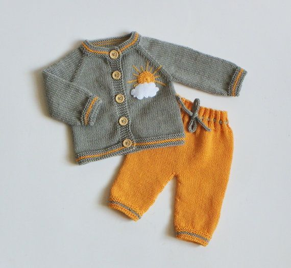Photo of Knitted baby girl outfit grey and yellow set knit newborn merino set merino cardigan and trousers MADE TO ORDER – Nora
