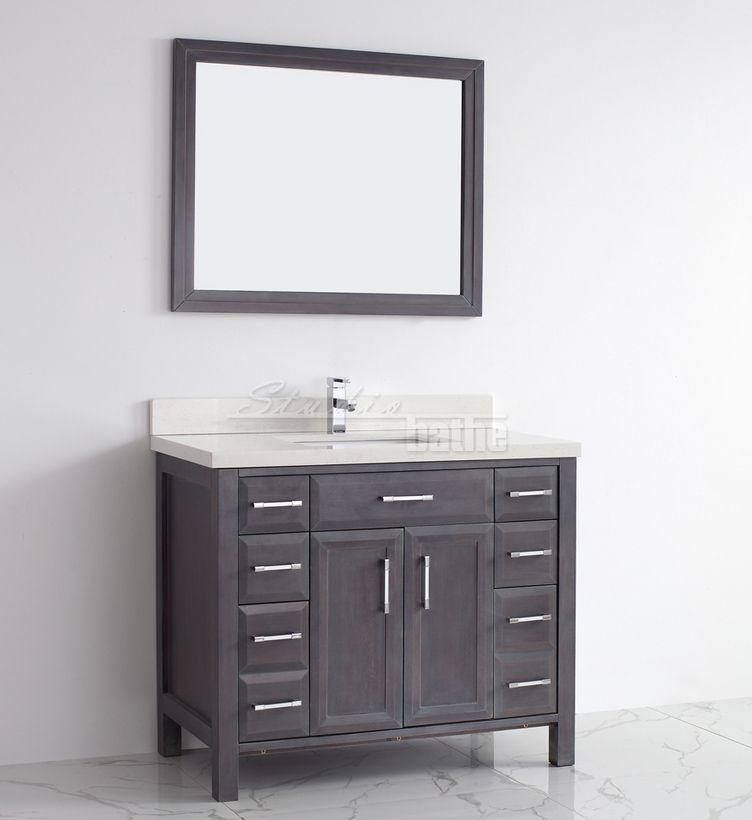 42 Inch Bathroom Vanity In Pepper Gray Finish Bathroom Vanity Contemporary Bathroom Vanity 42 Inch Bathroom Vanity