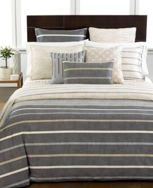 West Elm ticking Stripe Queen duvet cover only khaki cotton