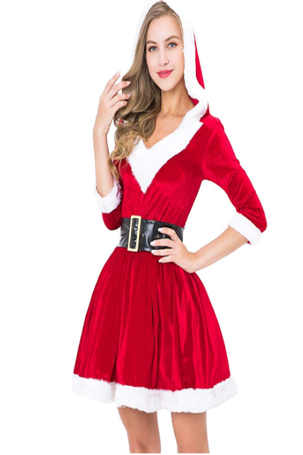 Fun for holiday parties or surprising your secret Santa on Christmas. Suitable for themed Costume Parties, Christmas Day, Halloween Celebrations, Mask Festival or Dance Party and more. #christmasdress #christmasoutfit #christmas #christmasclothes