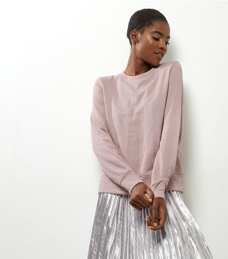 Shell Pink Metallic Long Sleeve Sweater | New Look | Cold ...