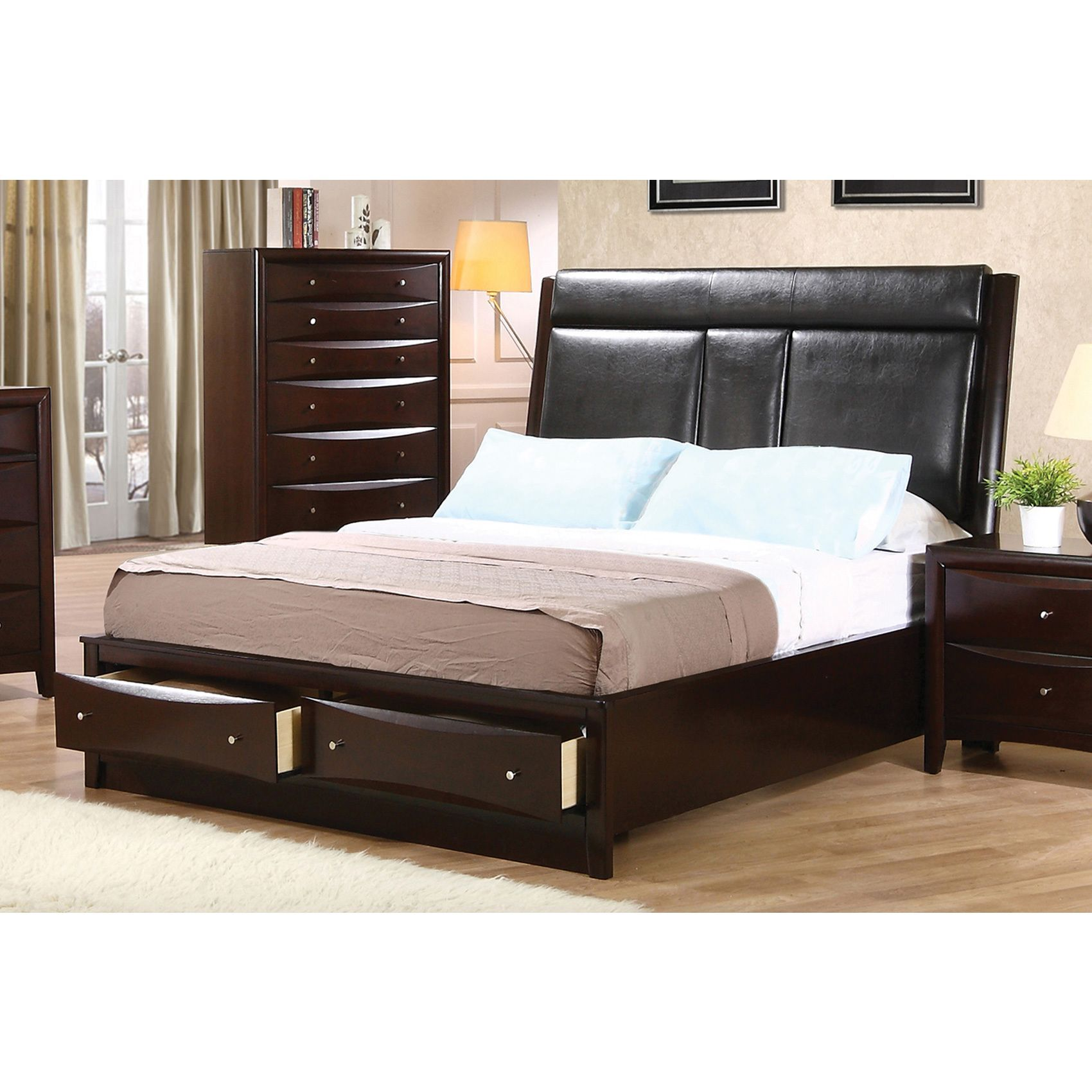 Coaster company phoenix cappuccino storage bed king brown