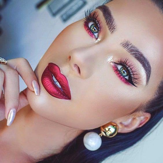 Photo of metallic-red-lipstick-makeup-look-for-christmas-min – Christmas Makeup – Water