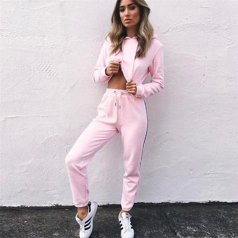 45e3daab7a Women's Tracksuits 2 Piece Set Pink Crop Top And Pants Fashion 2018 Autumn  Casual Lady Tumblr Long Sleeve Hoodies Pants Suit