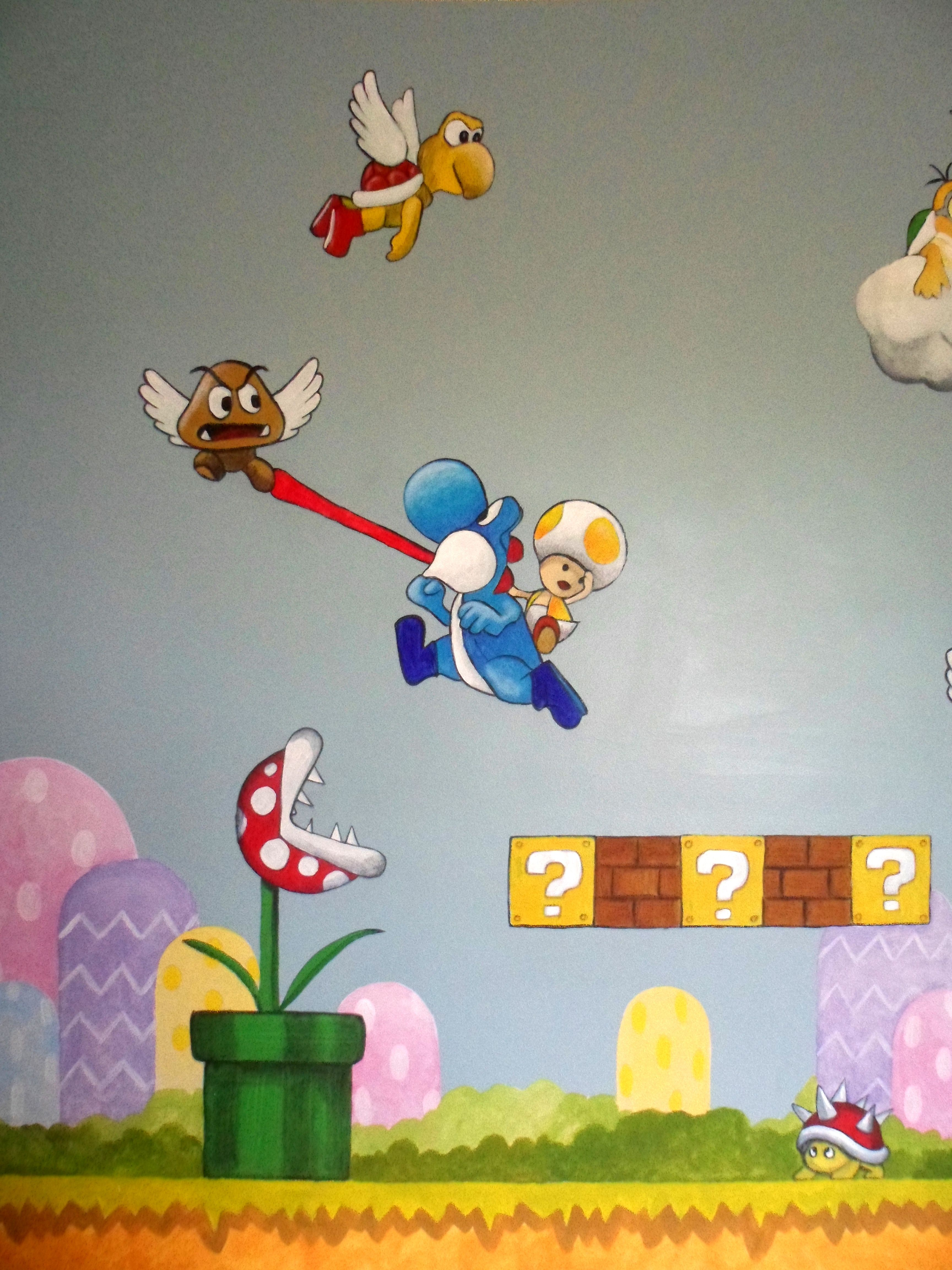 Super Mario Brothers. murals for boys bedroom. Loads of characters ...