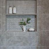 Photo of White Modern Master Bathroom with Gray Tile Shower#designinteriores #livingroomd…
