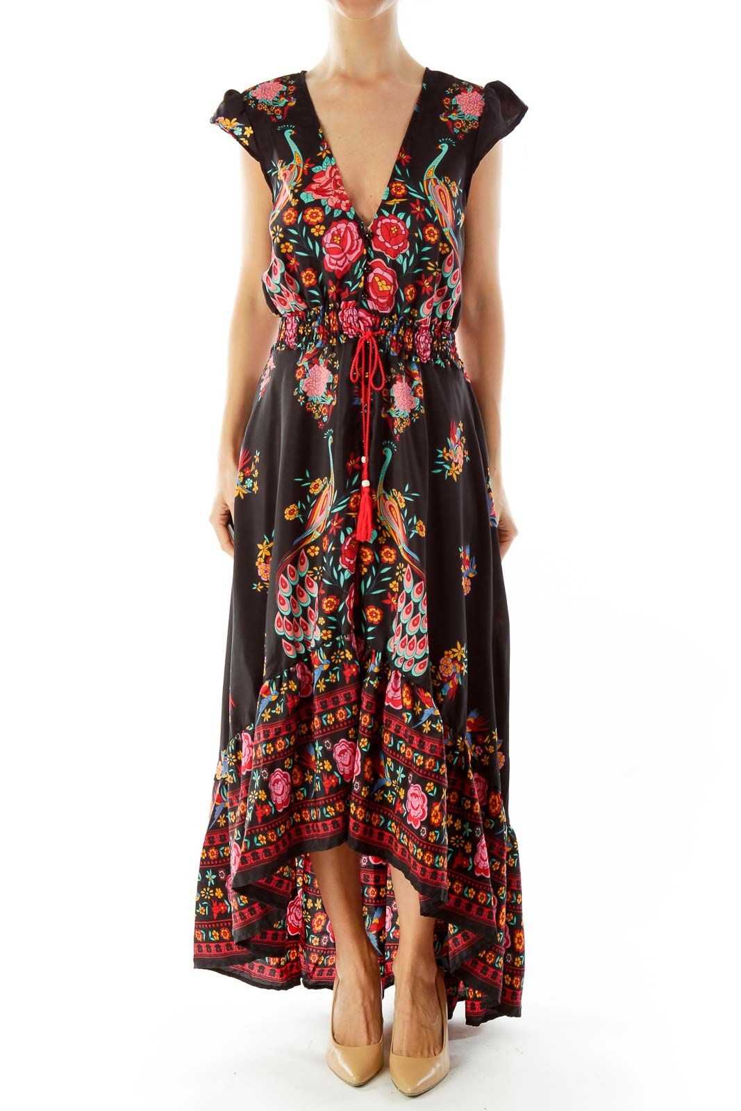 079f5e75beb Bohemian black floral open maxi dress by SilkRoll  silkroll
