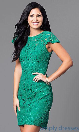 AM-2543U421 - Lace Semi-Formal Short Flutter-Sleeve Dress | Formal ...
