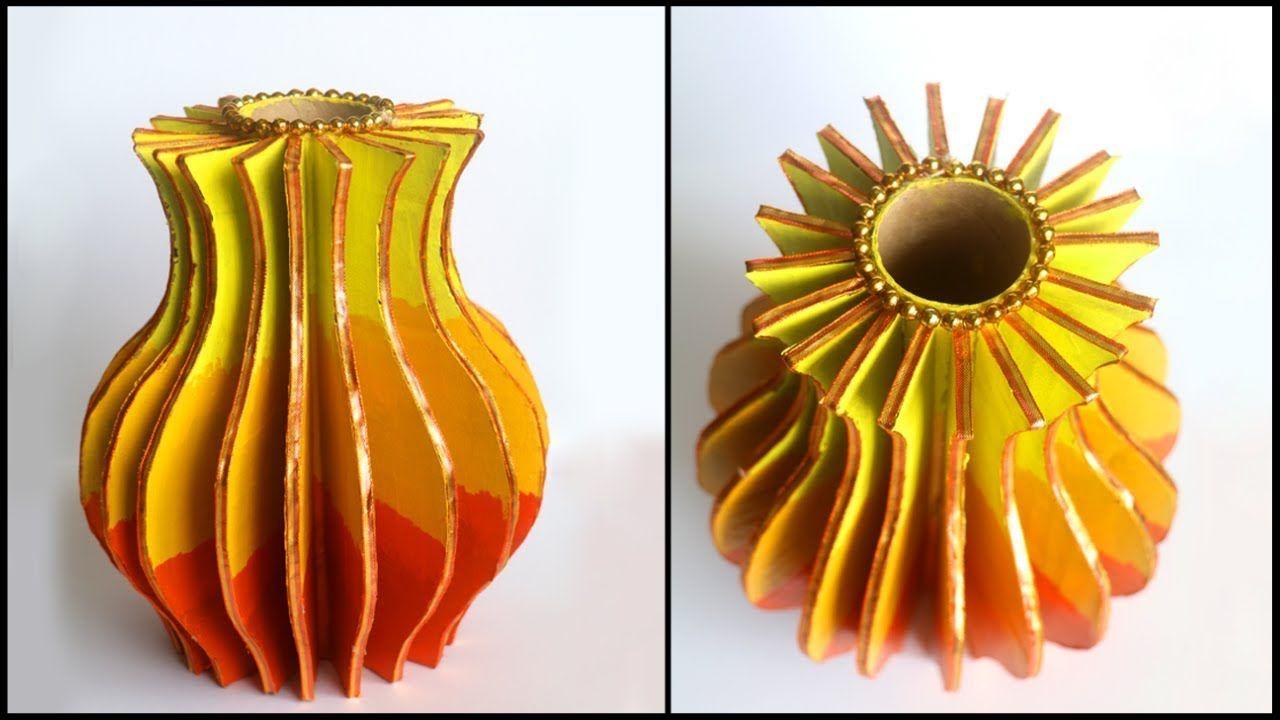 How to make flower vase at home diy cardboard vase