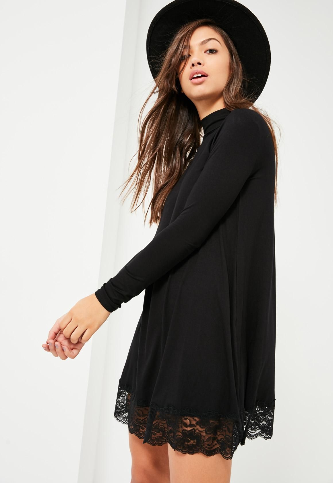 Lace Long Sleeve Swing Dress