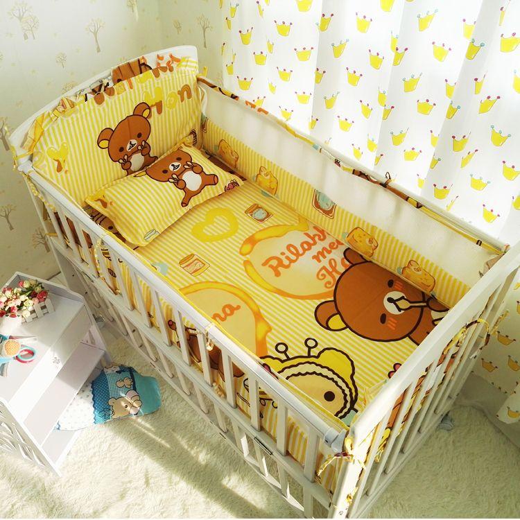 Cartoon Summer Bedding Sets Crib Baby Bumpers 100 Cotton 6pcs Set