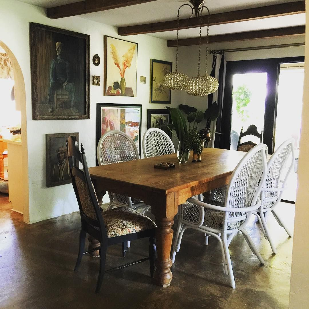 Sneak peek of the dining room. I love how the 80's rattan chairs turned out. #thriftstorejourney #upcycle #greatfinds #againdallasxatlantishome #thriftstoremakeover