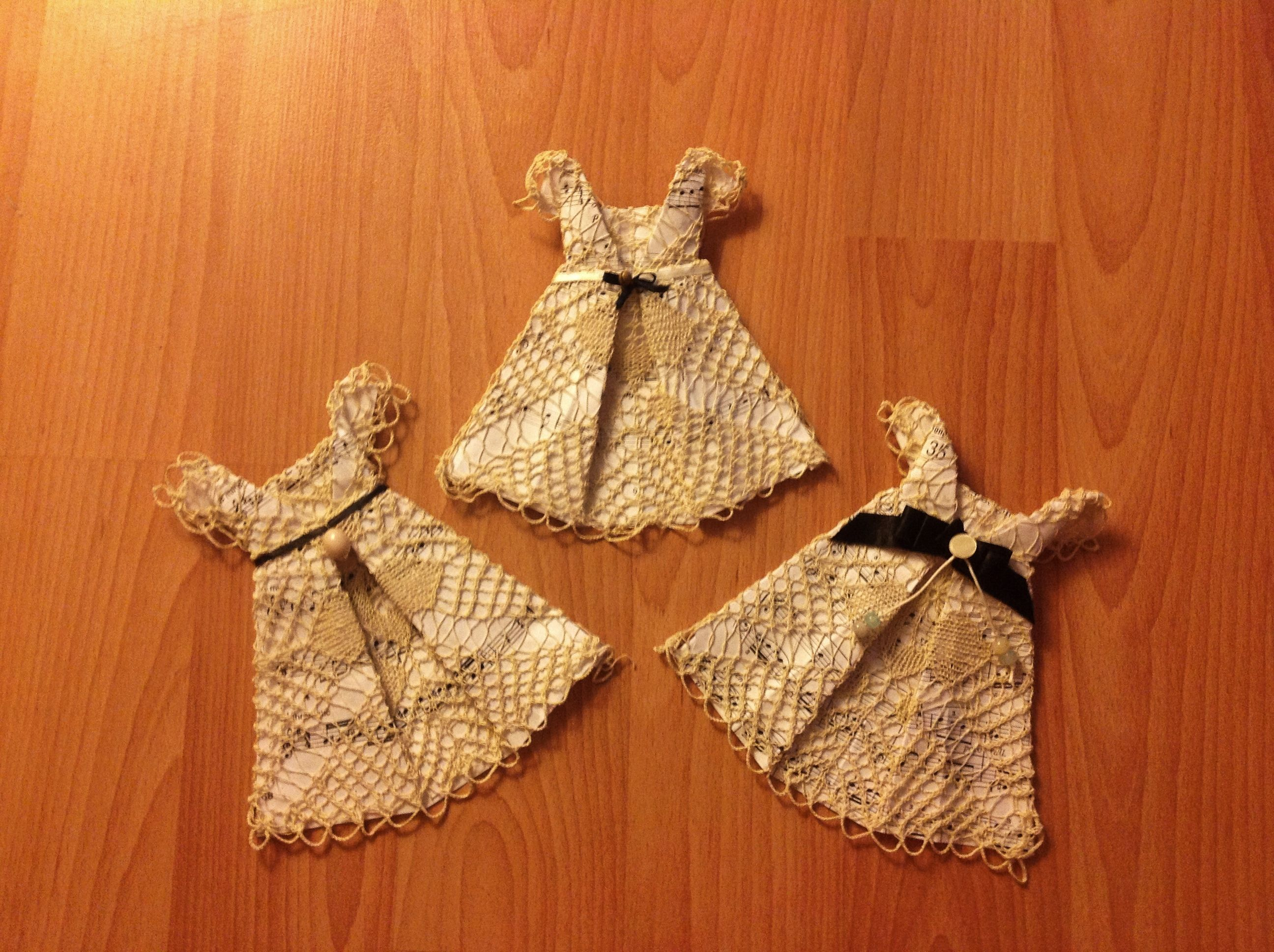 Origami dress design with music sheet and doily. #origami #doily #lace #diy