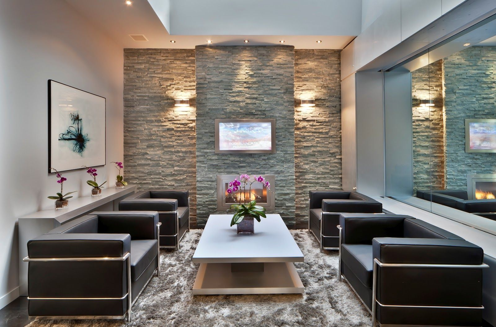 Modern Fireplace Good Ideas For Living Room Decoration Using Grey Stone Veneer Heart Along With Double Wall Sconces And Furry Light
