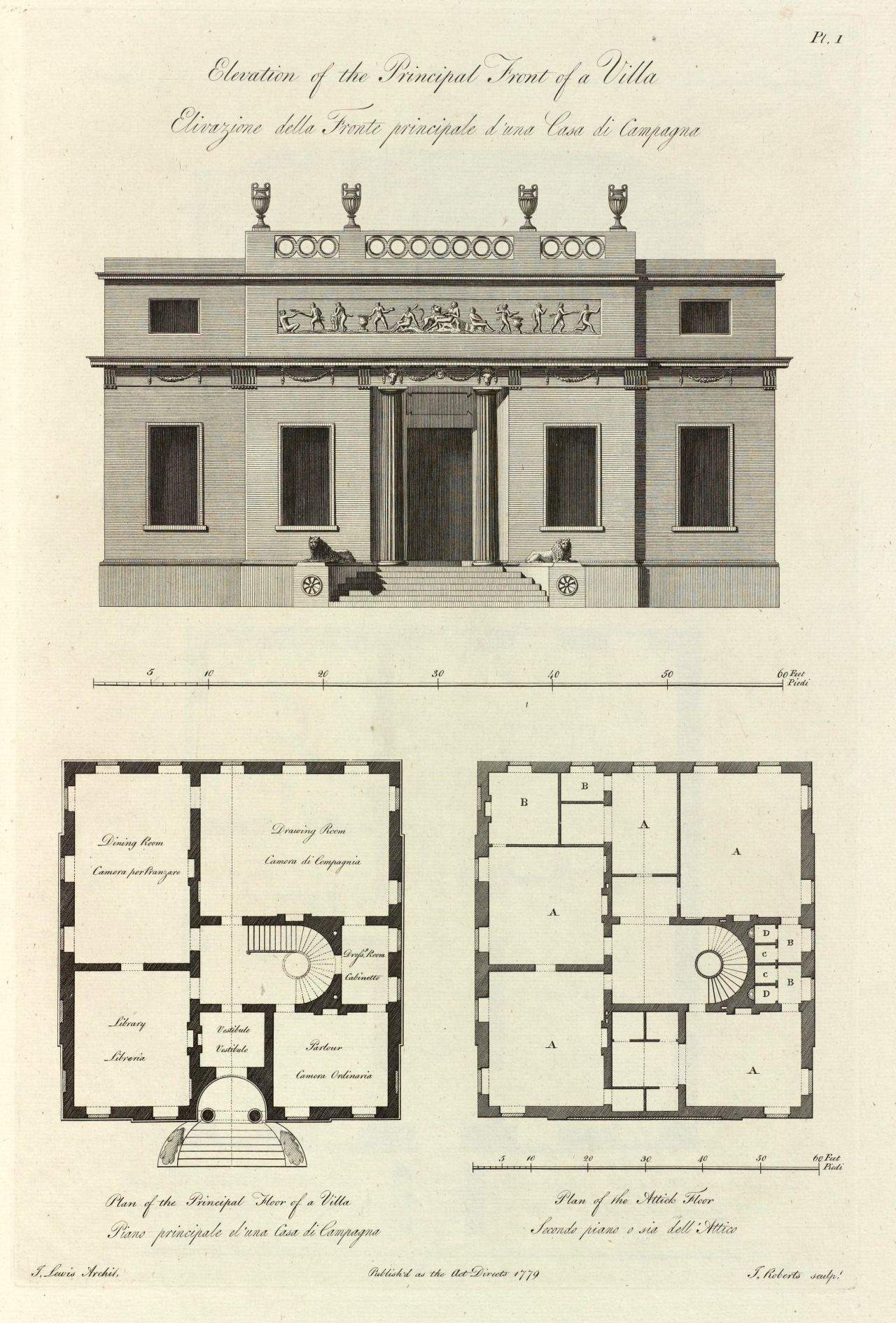 Elevation and plans of a villa 1779