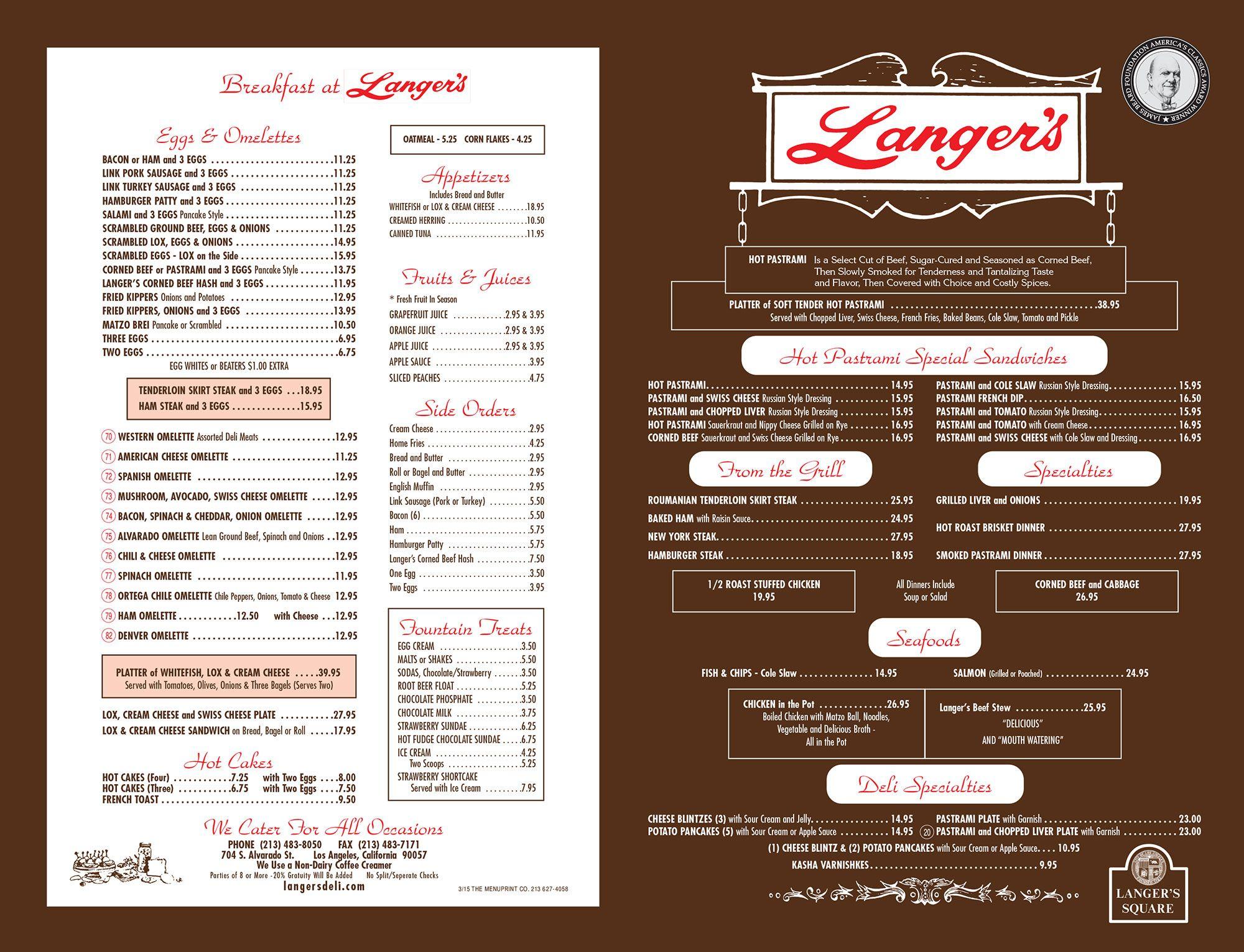 Langer s Delicatessen Restaurant Menu