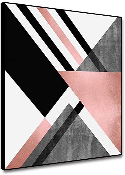 Amazon Com Arrmt Framed Canvas Wall Art Abstract Painting Geometric Pink Grey White Triangle Color Pink Abstract Art Abstract Art Painting Kitchen Art Prints