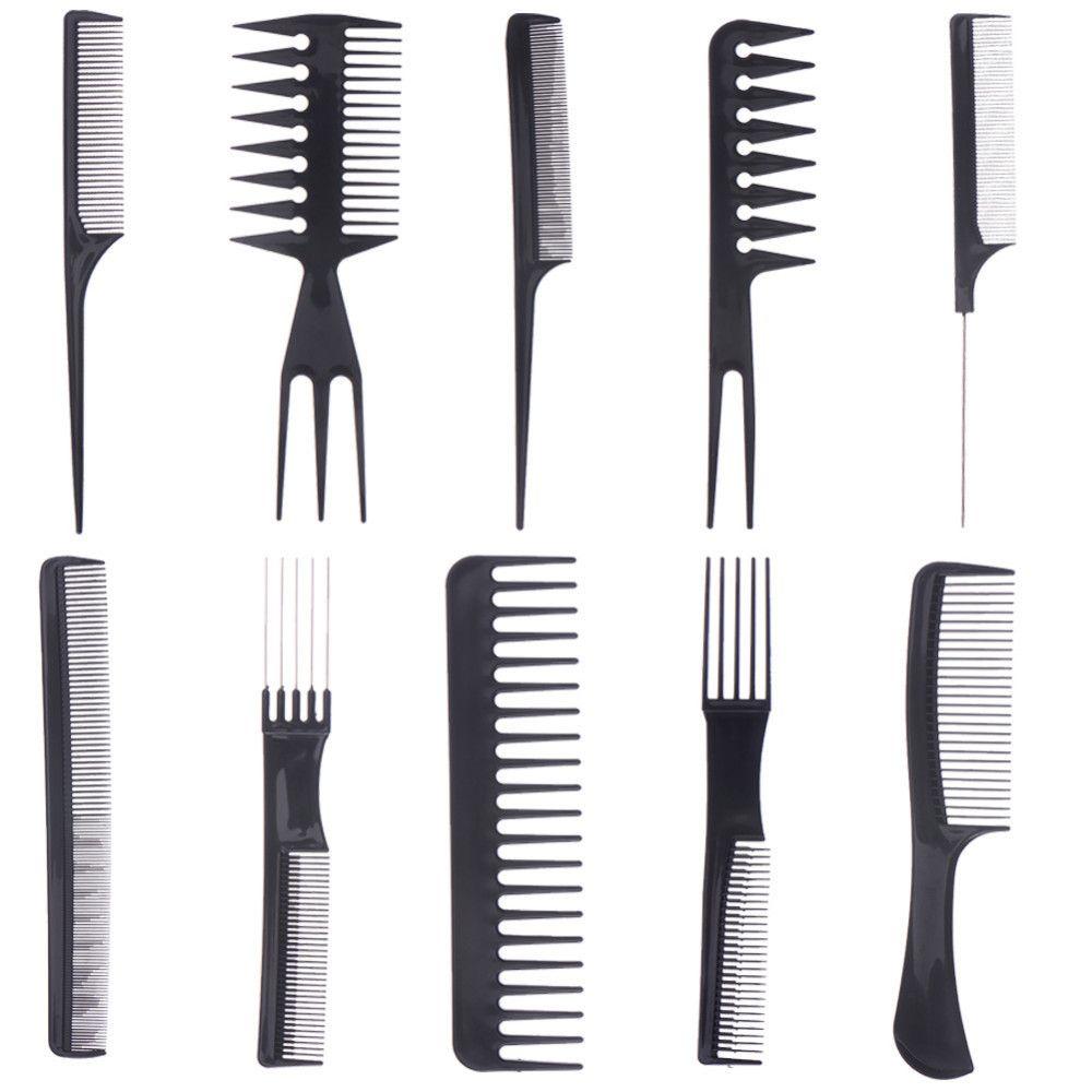 1 Conjunto De 10 Pcs Pente Barbeiros Hair Styling Ferramentas Make Up Profissional Penteia O Cabelo Anti Estatico Escova Static Hair Hair Tools Hair Brush Set
