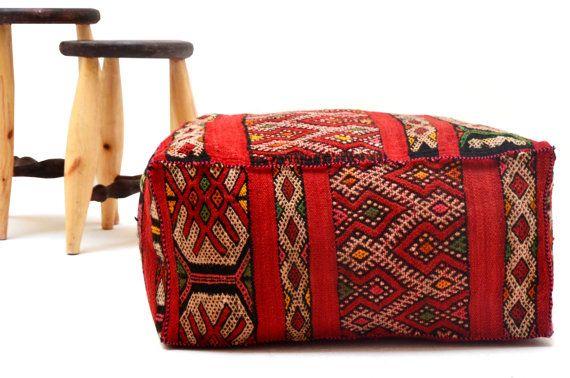 Kilim Cushion Ottoman Kilim Pouf 24 Square Pouf Ottoman Pillow