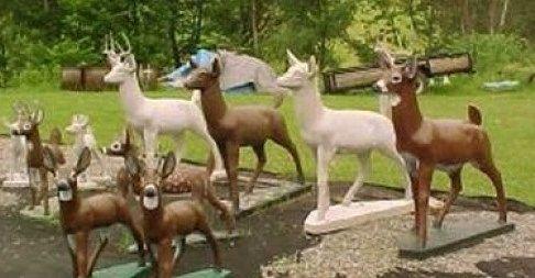Wisconsin Concrete Deer Hoax Painting Concrete Lawn Ornaments Concrete Statues