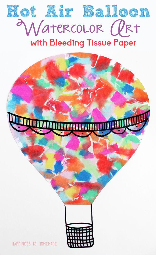 Hot Air Balloon Bleeding Tissue Paper Art