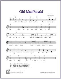 Old MacDonald | Free Sheet Music for Guitar - http://www.makingmusicfun.net/htm/f_printit_free_printable_sheet_music/old_macdonald_leadsheet.htm